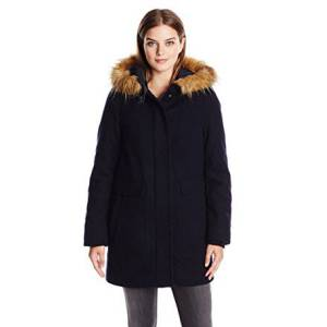 Womens Wool Utility Coat with Faux Fur Trim Hood 主图