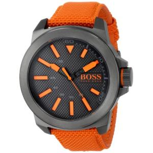 BOSS Orange Mens 1513010 New York Stainless Steel Watch with Orange Woven Band 主图