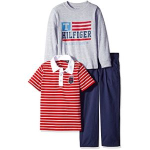 Tommy Hilfiger Boys Solid Long Sleeve, Polo and Pants Set 主图